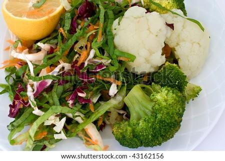 broccoli, cauliflower and salad - stock photo