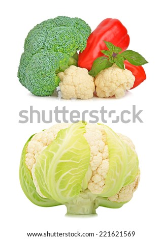 Broccoli, cauliflower, red pepper and basil isolated on white. Collage - stock photo