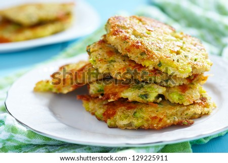 Broccoli Cheddar Fritters with Quinoa - stock photo