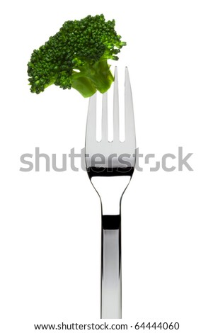 broccoli floret sticking on fork, isolated on white