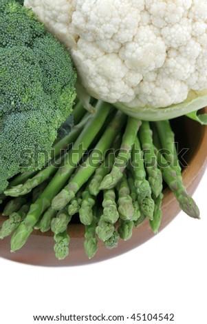 Broccoli, green asparagus and cauliflower. Close up - stock photo