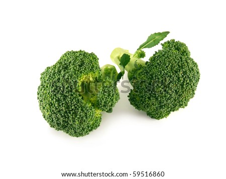 broccoli isolated over white - stock photo