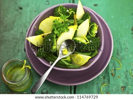 Broccoli Pear Beans Salad - stock photo