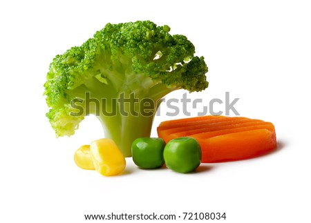 broccoli, peas, carrot and maize on a White background - stock photo