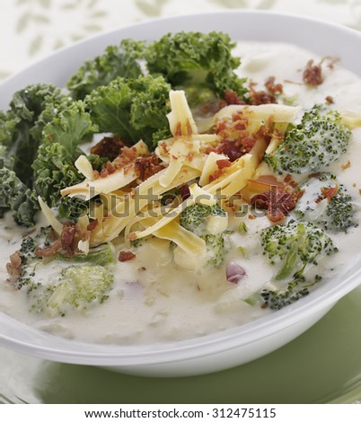 Broccoli Soup with Smoked Gouda Cheese and Greens
