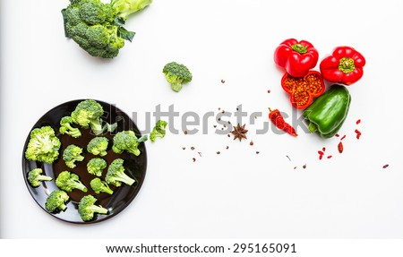 Broccoli whith sweet pepper for health on white background. - stock photo