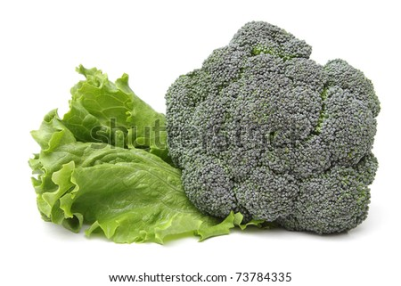 Broccoli with a leaf of lettuce isolated on white background - stock photo