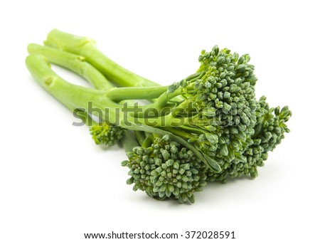broccolini baby broccoli isolated on white - stock photo