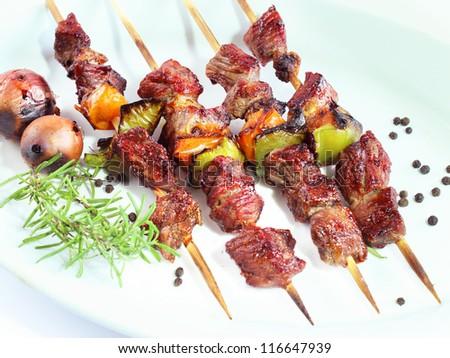 Brochette (shish kebab on skewers) - stock photo