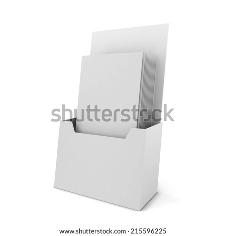 Brochure holder. 3d illustration isolated on white background - stock photo