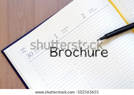 Brochure text concept write on notebook