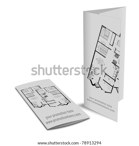 Brochure with drawings of a house for promotion - stock photo