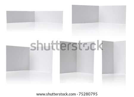 brochure with one fold in some different size. isolated over white background - stock photo