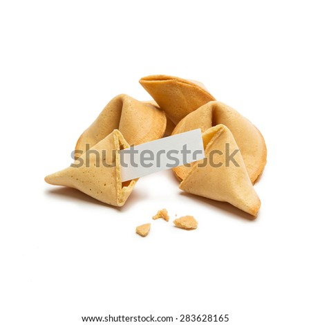 brocken fortune cookie with a massage note on white background - stock photo