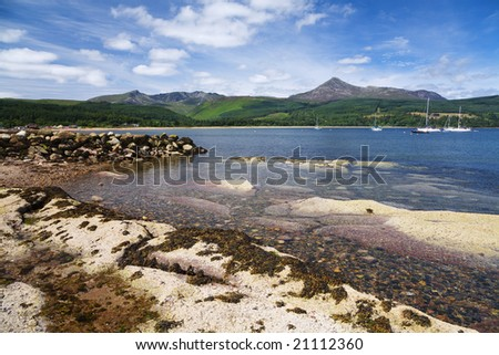 Brodick Bay and the mountains of Arran, Scotland - stock photo