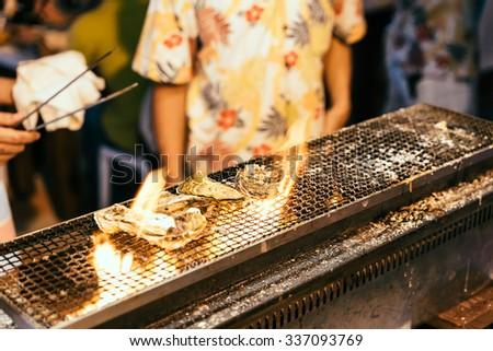 Broil Oysters - stock photo