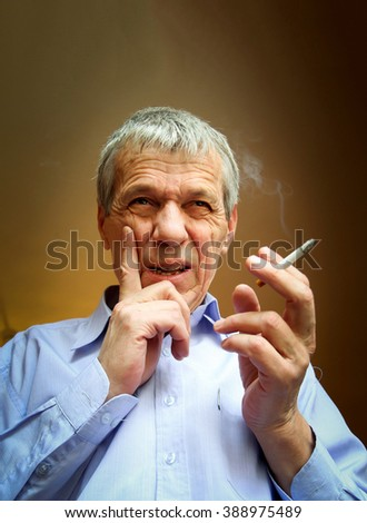 Broke Business man with cigarette