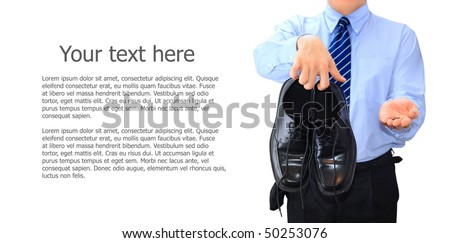 Broke businessman changing clothes for food - stock photo