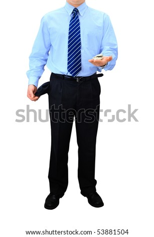 Broke businessman is counting money - stock photo
