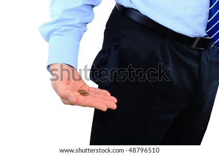 Broke businessman with two pennies - stock photo