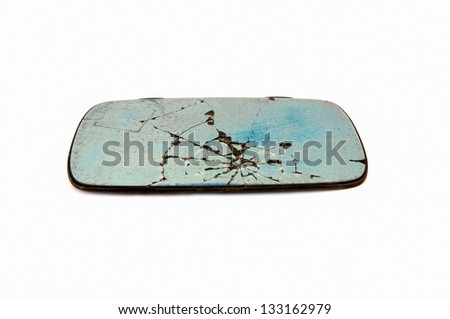 Broken a glass car on white background - stock photo