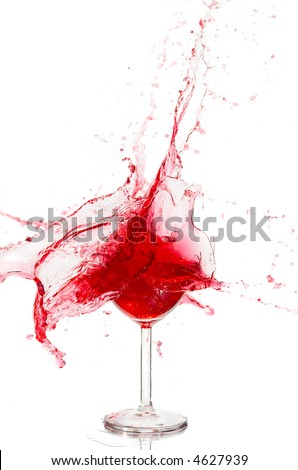 Broken a glass with wine on a white background - stock photo