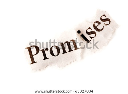 "Broken Agreement concept, suitable for many other uses including depression. The word ""promise"" is torn in two. - stock photo"