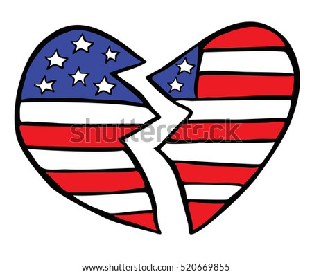 Broken American Heart: Hand-drawn depiction of our fractured nation after the recent Presidential Election.