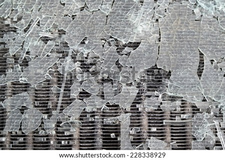 Broken and destroyed solar panel - stock photo