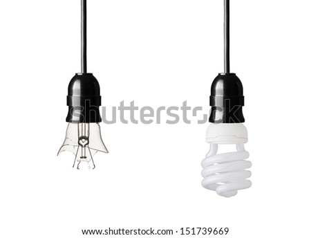 broken and energy saver lightbulb isolated on white - stock photo