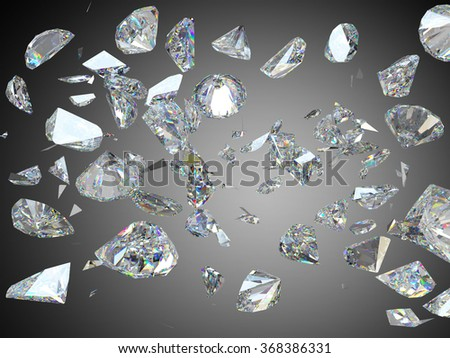 Broken and shattered large diamonds or gemstones high resolution