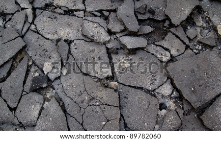 Broken Asphalt in the Street - stock photo
