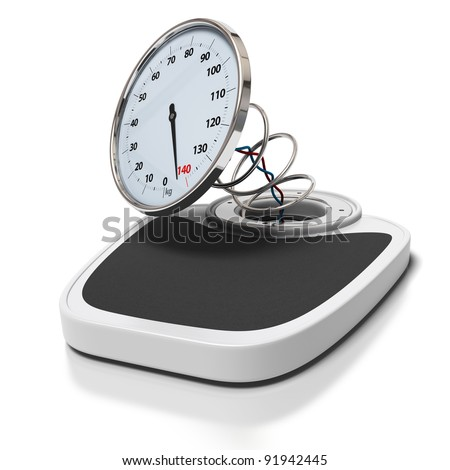 broken bathroom scales over a white background -  overweight concept - square images - stock photo