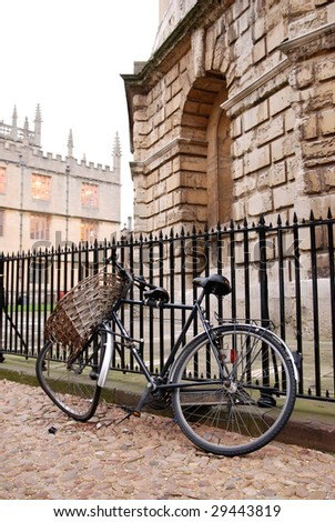 Broken bicycle in Oxford University - stock photo