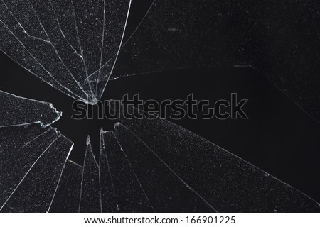 broken black glass - stock photo