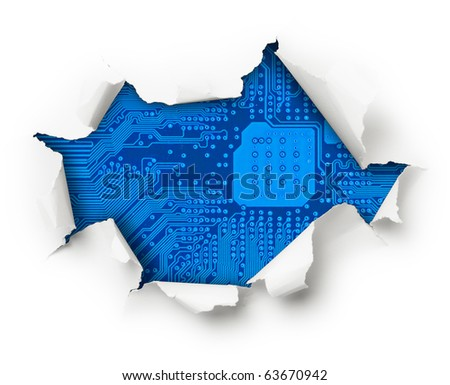 Broken blue computer circuit board through a hole in white paper wrapping - stock photo
