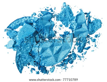 Broken blue eye shadow, isolated on white macro - stock photo