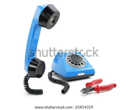 Broken blue phone - stock photo