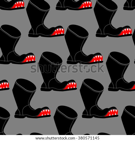 Broken boot seamless pattern. Toothy old shoes with hole background. Shoe fabric texture. - stock photo