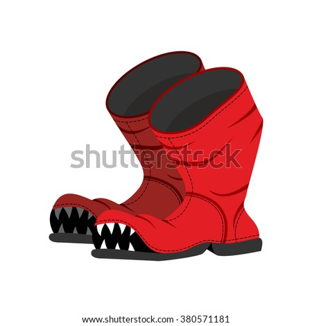 Broken boot with teeth. Old shoes with hole. Dreaded boot. - stock photo