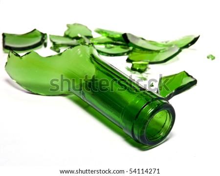 Broken bottle glass - stock photo
