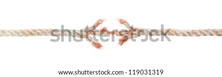 Broken braided rope on a white background. - stock photo