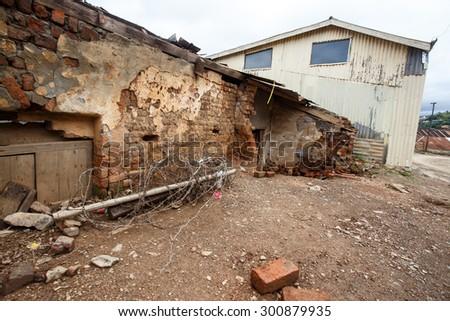 Broken Brick Building in Falam Town , Chin State, Western Myanmar (Burma) - stock photo