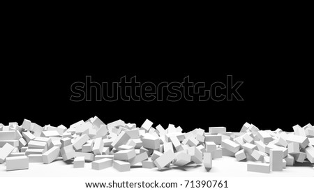 Broken Brick Wall - stock photo