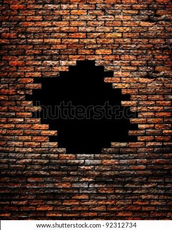 broken brick wall - stock photo