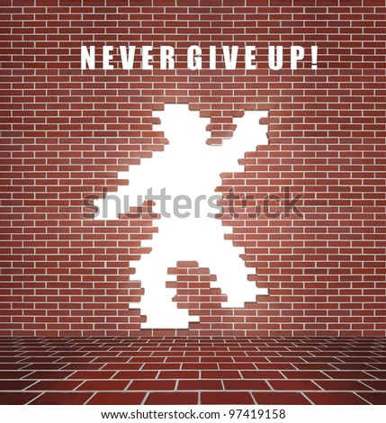 Broken brick wall, concept of freedom and will - stock photo