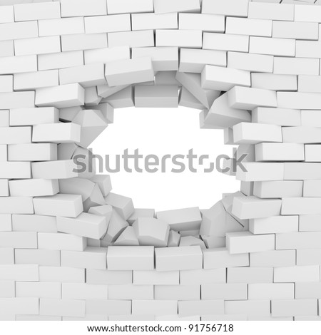 Broken Brick Wall isolated on white background - stock photo