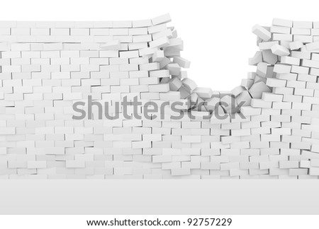 Broken Brick Wall isolated on white background (Hight Resolution 3D Image) - stock photo