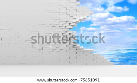 Broken Brick Wall with Beautiful Clouds Behind - stock photo