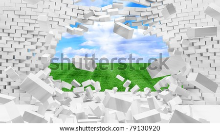 Broken Brick Wall with beautiful landscape behind - stock photo